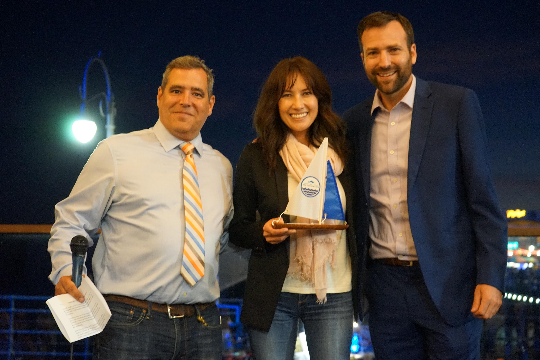 """TBF Director Tom Ford, Honoree Julie Andersen of """"A Plastic Ocean"""", and CA Senator Ben Allen"""